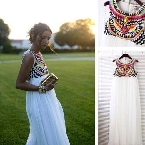WhiteSleeveless Boho Chiffon Maxi Dress