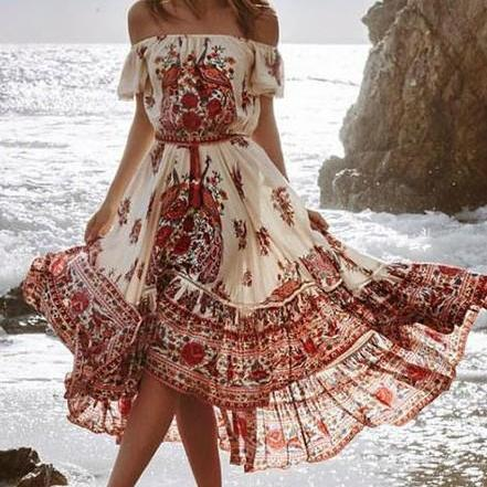 Off Shoulder Printed Bohemian Long Dress