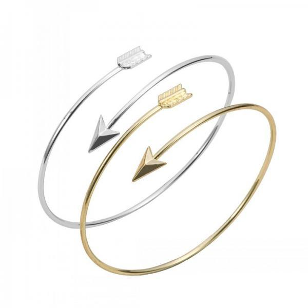 Arrow Bangle Bracelet in Silver and Gold