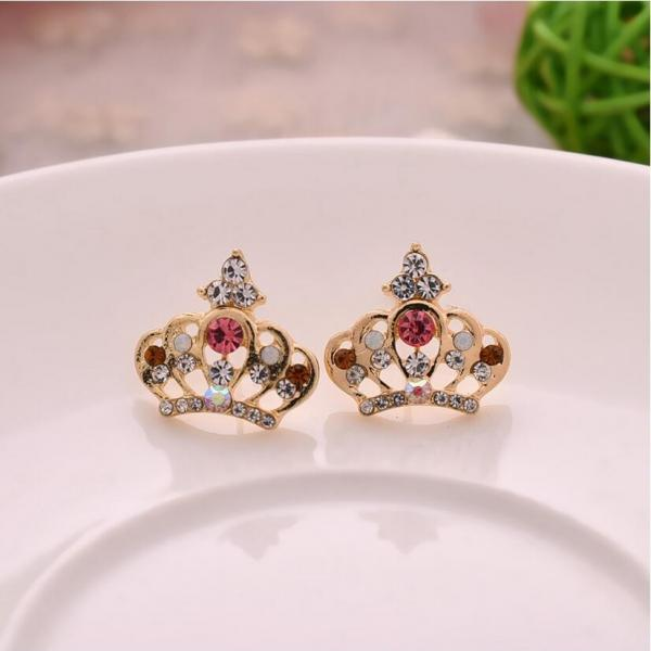 Cute Crystal Crown Stud Earrings