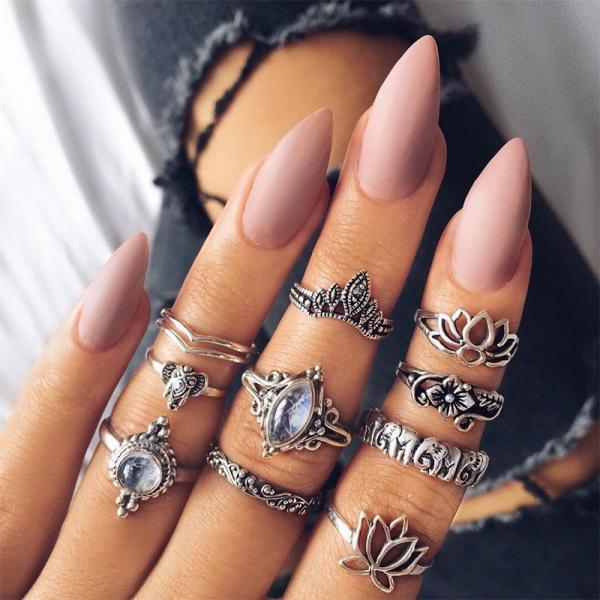 10 Pieces Set Silver Boho Rings