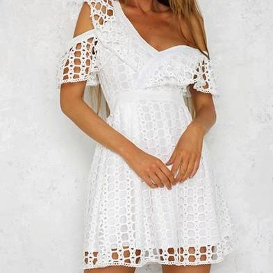 Sexy Ruffle Short Sleeve Lace Mini Sweet Dress