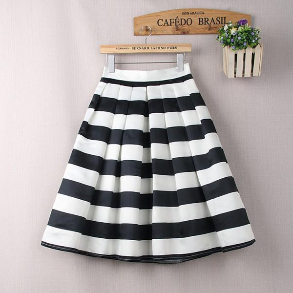 Stylish Black and White Stripe Midi Skirt