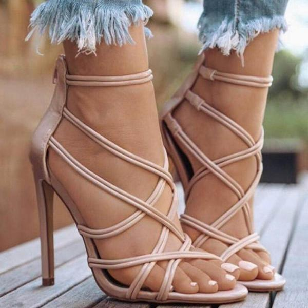Bandage Cross Strap High Heels Sandals