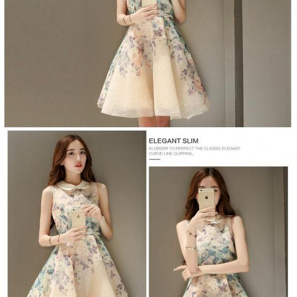 Lovely Floral Print Organza A Line Dress