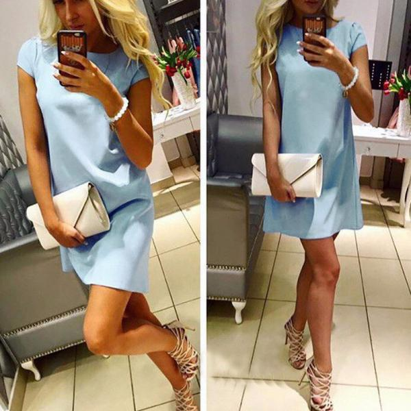 Casual Short Sleeve Mini Dress