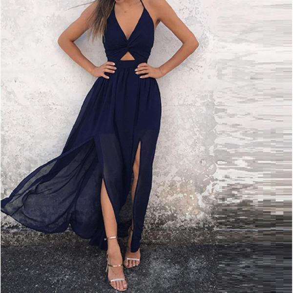 Fit and Flare V Neck Chiffon Summer Maxi Dress