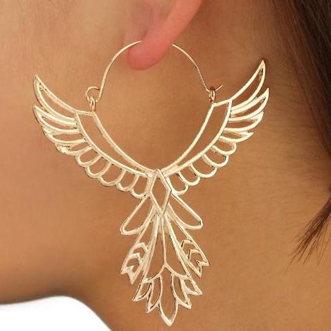 Bohemia Gold and Silver Wings Drop Earrings