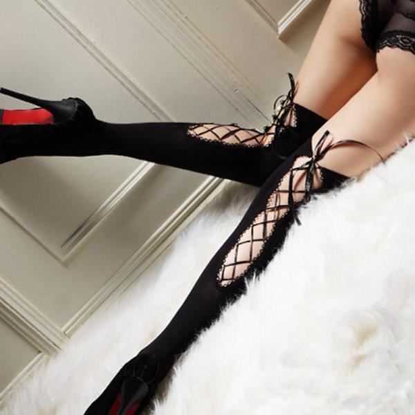 Black Sexy Thigh high lace up Stockings Socks