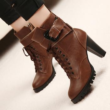 Brown Chunky Heel Ankle Boots