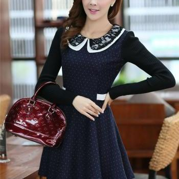 Blue Doll Collar Lace Splice Long Sleeve Dress