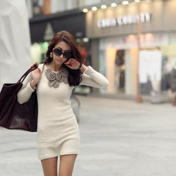 Round Collar Beige Long Sleeve Dress