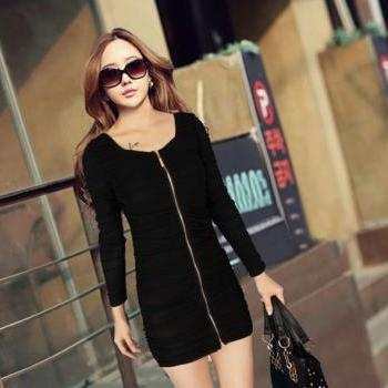 Elegant Black Pleated Wrap Dress