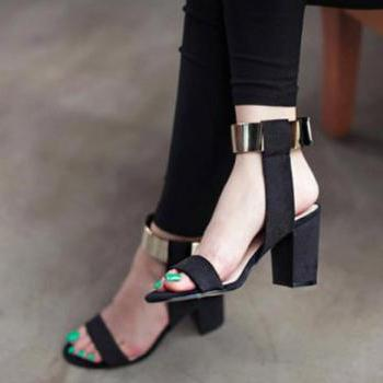 Elegant Metallic Gold Design Fashion Sandals in Black and Blue