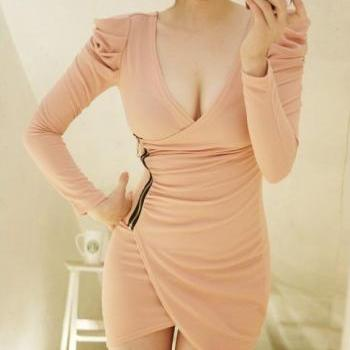 Deep V neck Long Sleeve Mini Dress in Pink