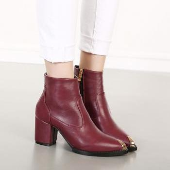 Wine Red Pointed Toe Size Zipper Design Boots