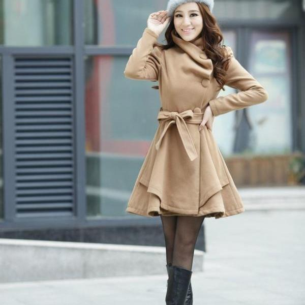 Beautiful Pleated Light Brown Winter Coat