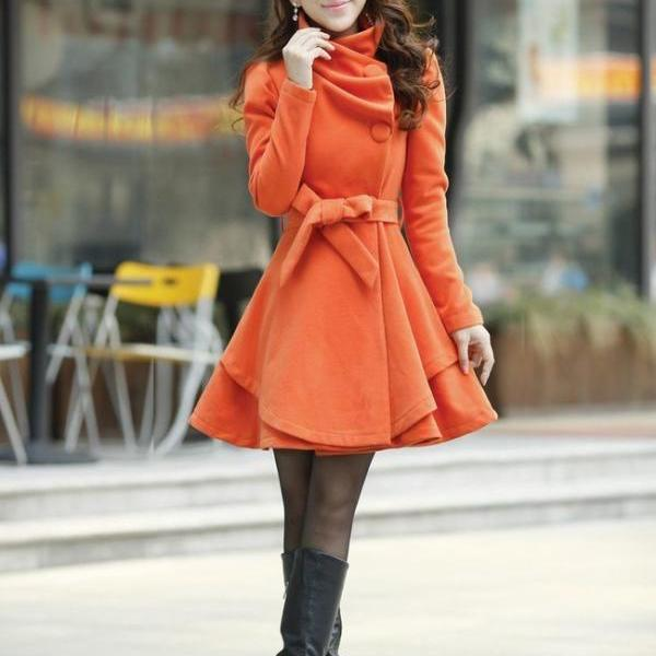 Gorgeous Orange Winter Coat with Bow Belt