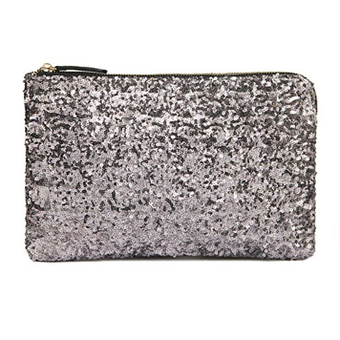 Trendy Sequined Clutch in Silver