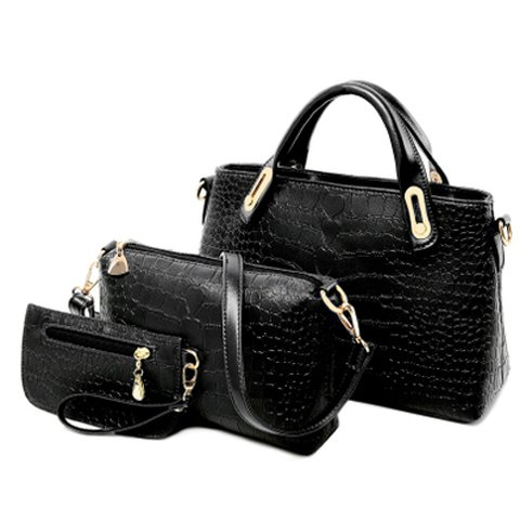 Crocodile Pattern Black Three Pieces Handbag Set