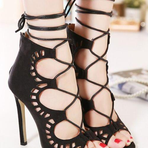 Classy Black Peep toe Fashion Shoes