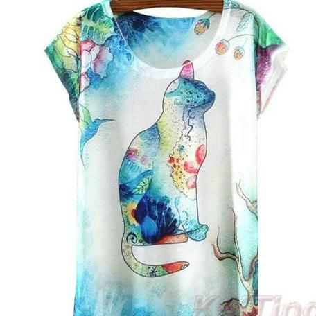 Colorful Cat Print Top
