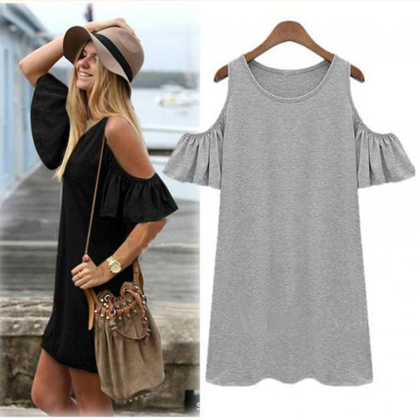 Off Shoulder Long Top or Mini Dress