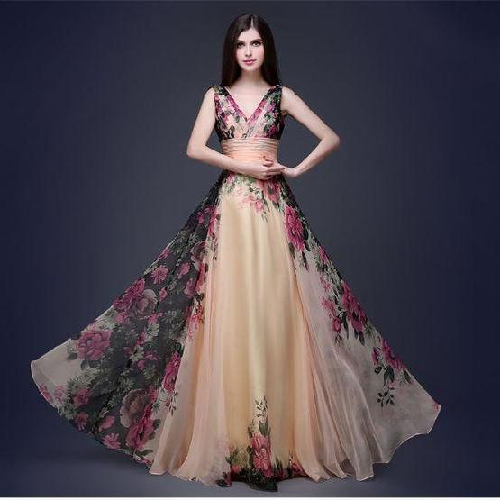 Fashion Floral V Neck Evening Long Dress