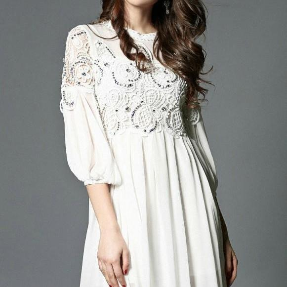 Lace and Chiffon beaded Party Dress in White