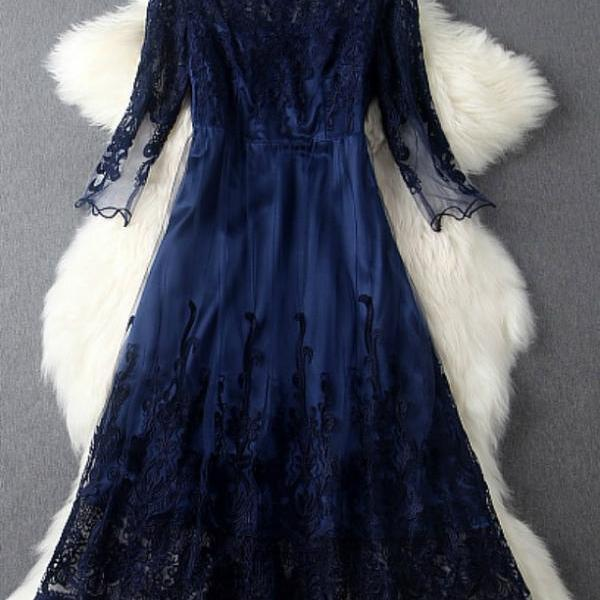 Blue Ball Gown Design Lace Evening Dress