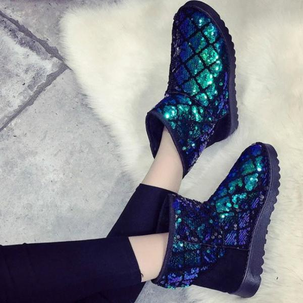 Winter Ankle Boots Bling Glitter Women Snow Boots