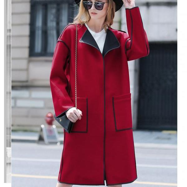 Elegant Red Women Winter Coat Slim Long Coat