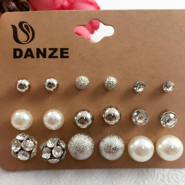 9 Pairs Crystals and Pearl Earrings Set