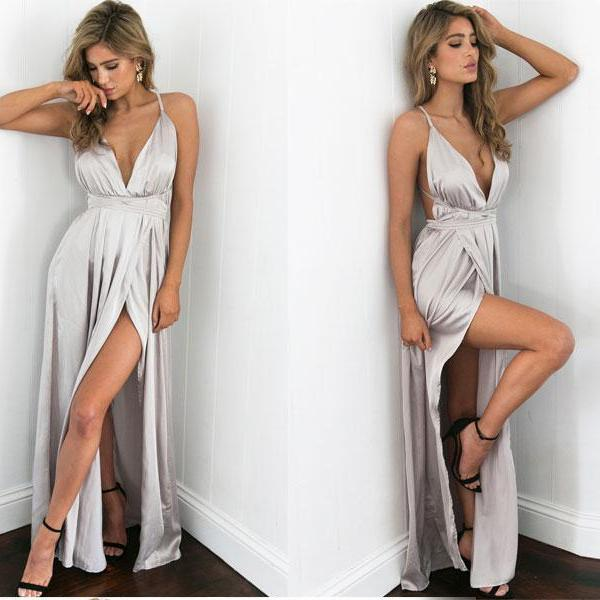 Silver Satin V Neck Long Dress