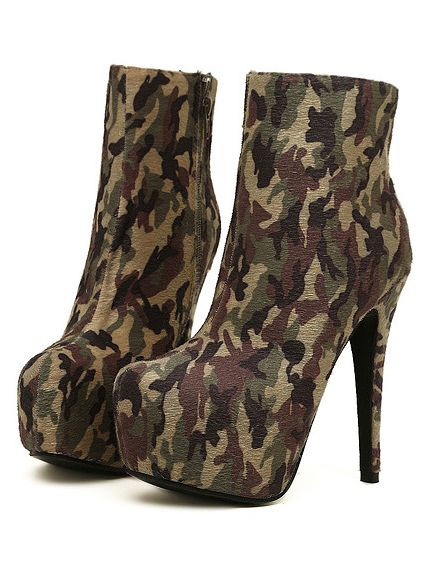 army camouflage high heels ankle boots on luulla