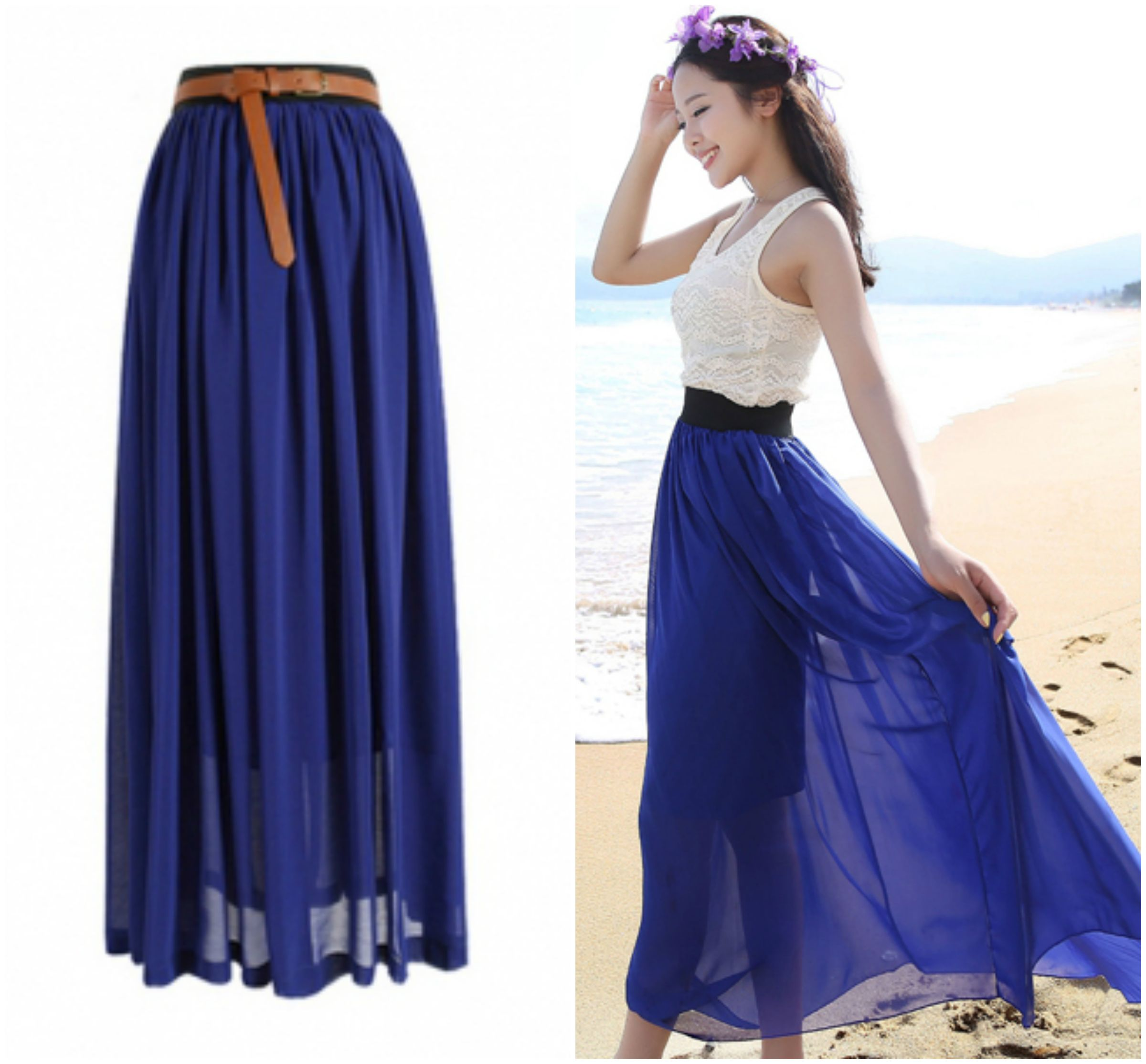 Navy Blue Chiffon Maxi Skirt on Luulla